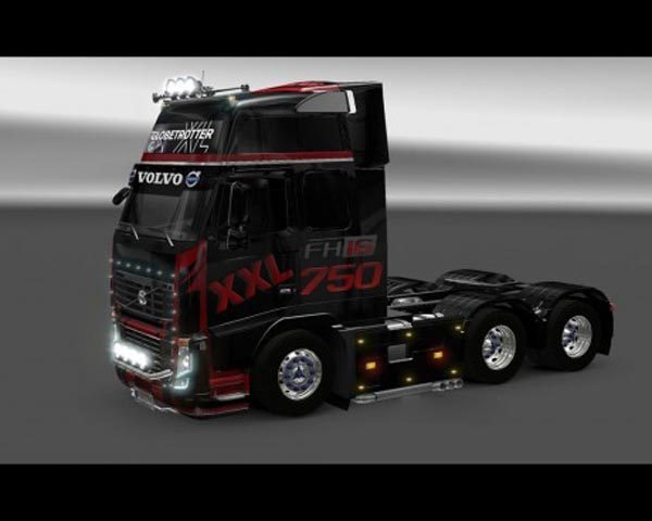 Volvo FH16 Black Red Skin