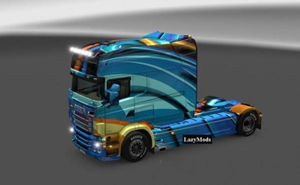 Scania RJL Abstract Blue Glossy Skin