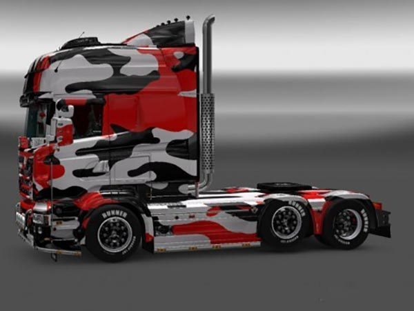 Red Camouflage Skin for Scania RJL R Multi