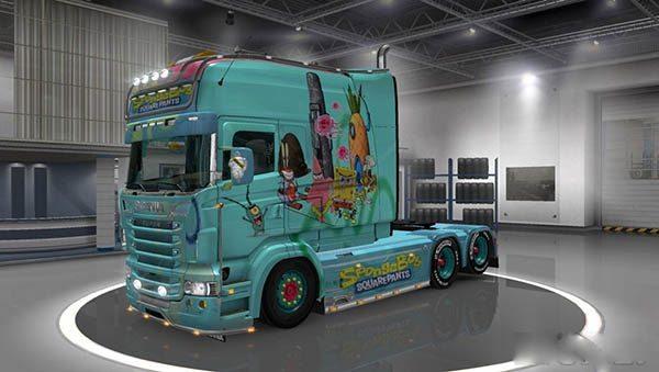 Scania RJL Longline Spongebob Skin